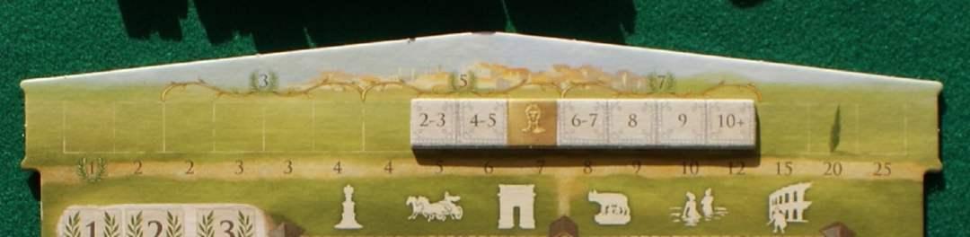 """La barretta dei PV piazzata sulla strada per Roma: si verifica sulla barretta il numero di caselle del foro collegate fra loro e si trova il punteggio ottenuto nella riga sottostante: per esempio con 6-7 caselle del nostro colore otterremo 8 PV. La posizione della """"testa"""" garantisce inoltre 5 PV per ogni combinazione corretta sulla base della carta """"Traiano"""" di quel ciclo"""