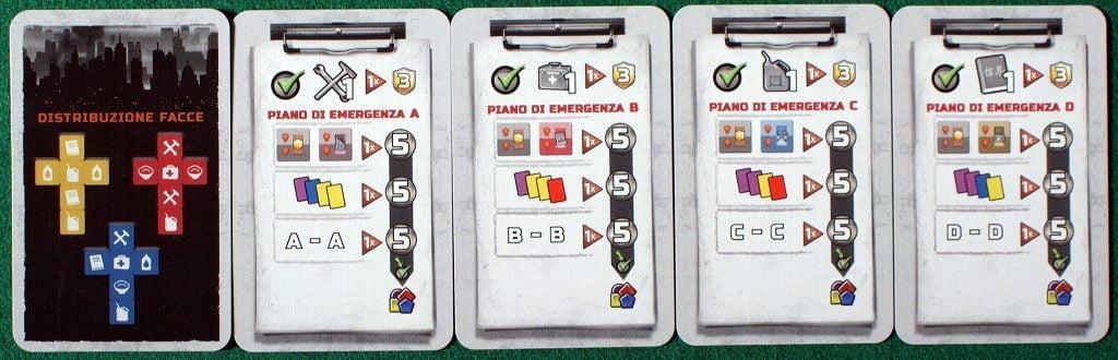 """Le carte """"piano di emergenza"""" distribuite ad inizio partita."""