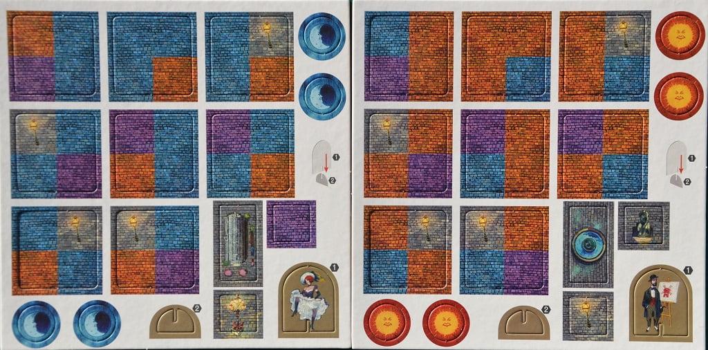 Tutte le tessere del gioco: a sinistra l'acciotolato blu, a destra quello arancione