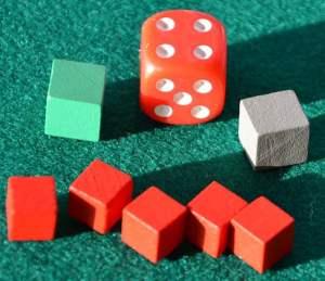Il dado per il gioco in solitario ed i cubetti