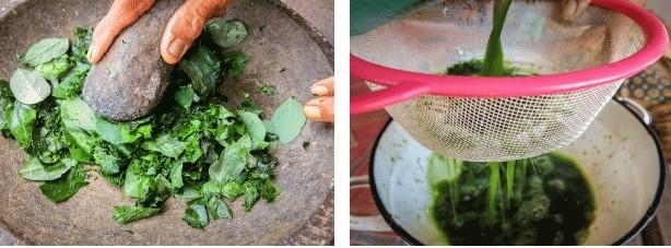 Pounding Herbs and Draining to make Balinese Jamu