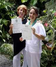 Corrie and Penny on Corrie's graduation day at BISA Massage Training Centre