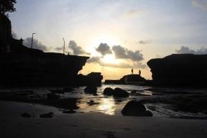 Nice Sunset Panorama behind the Rock at Tanah Lot Temple