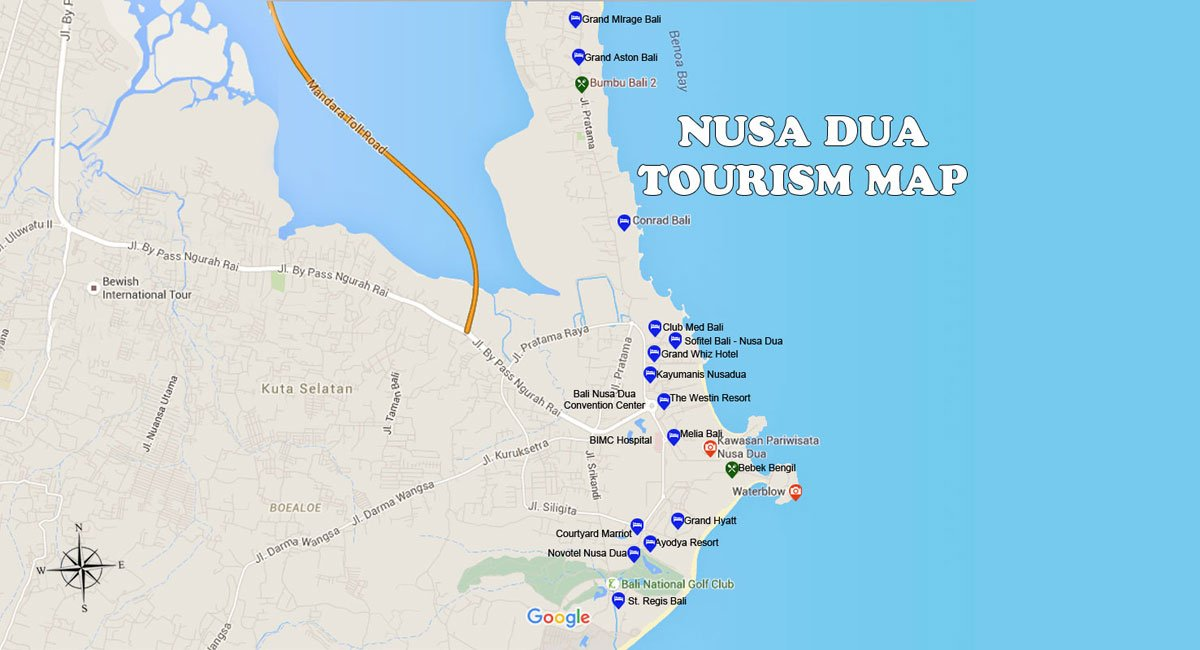 Nusa Dua Map - Bali Tourism Map