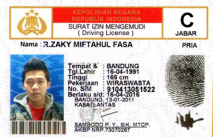Indonesia drivers license SIM C