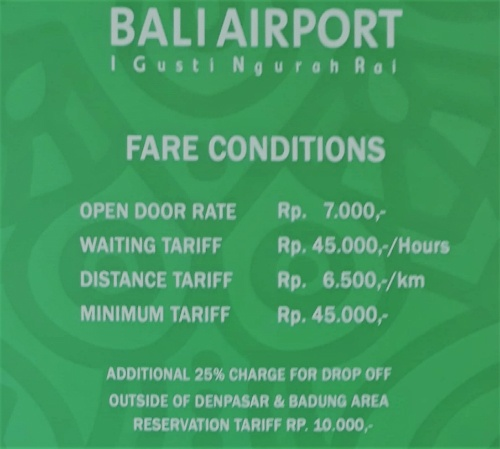 Bali Airport Taxi New rates