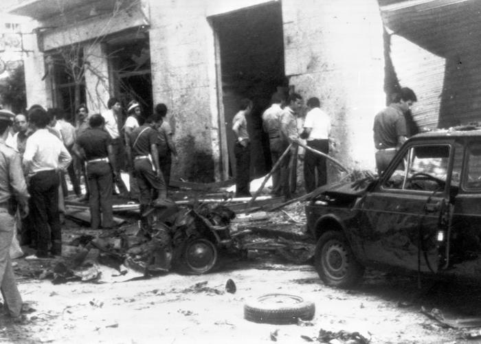 Rocco Chinnici's wasted car after a car bomb exploded near by, Palermo, Italy, 29 July 1983. ANSA/OLDPIX