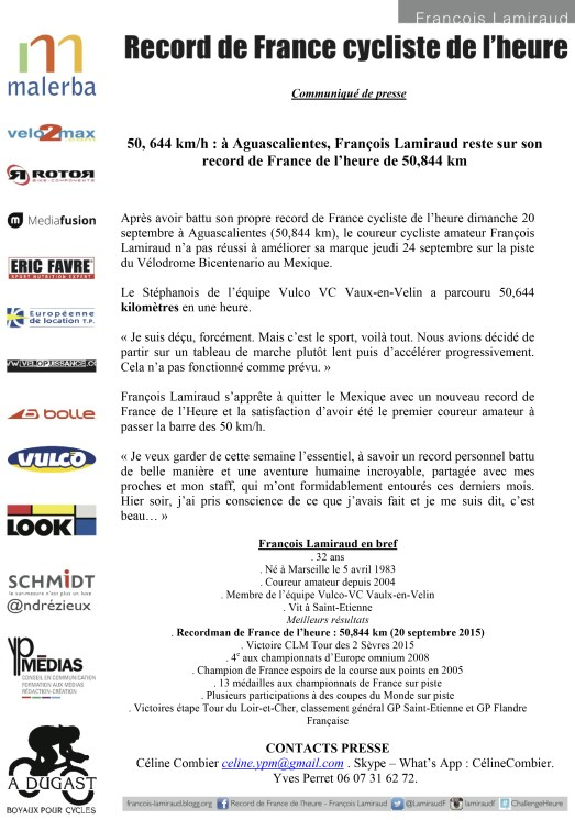 RECORD FRANCE HEURE - CP 24 09 2015