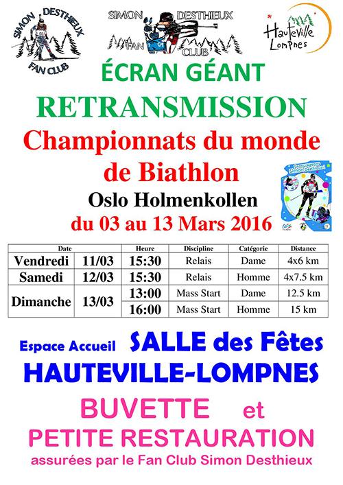 Affiche retransmission championnats du monde de Biathlon ballad et vous