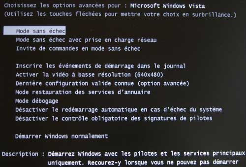 Réparer le mode sans échec de Windows
