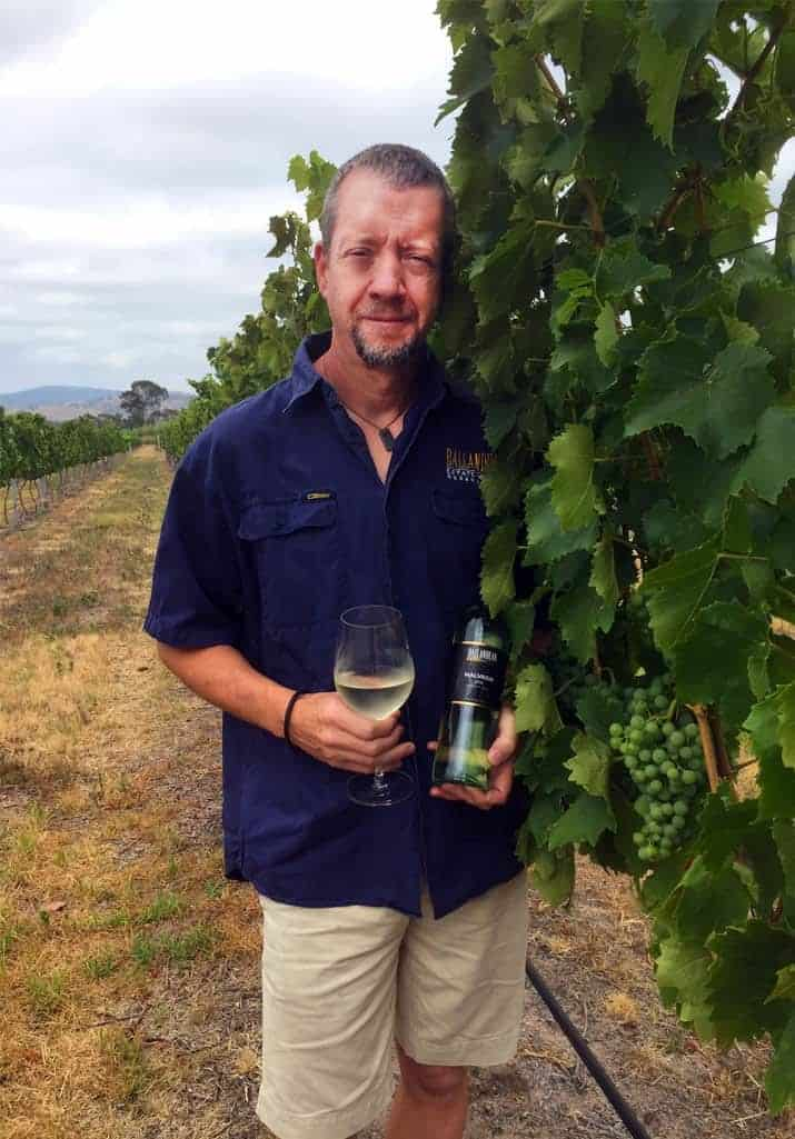 Ballandean Estate Malvasia winemaker Dylan Rhymer in the vines