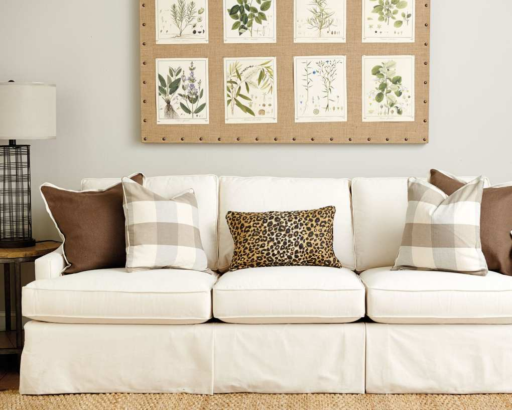 Neutral color palette in living room on pillows