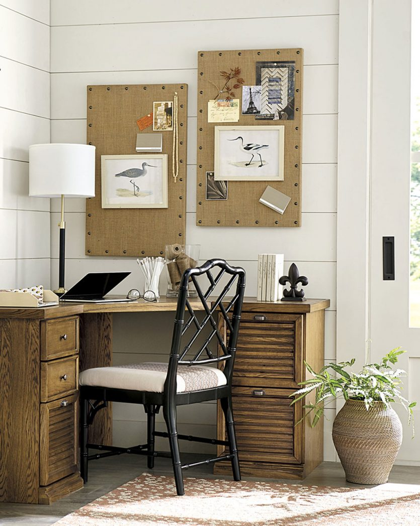 Corner office desk with bulletin boards from Ballard Designs