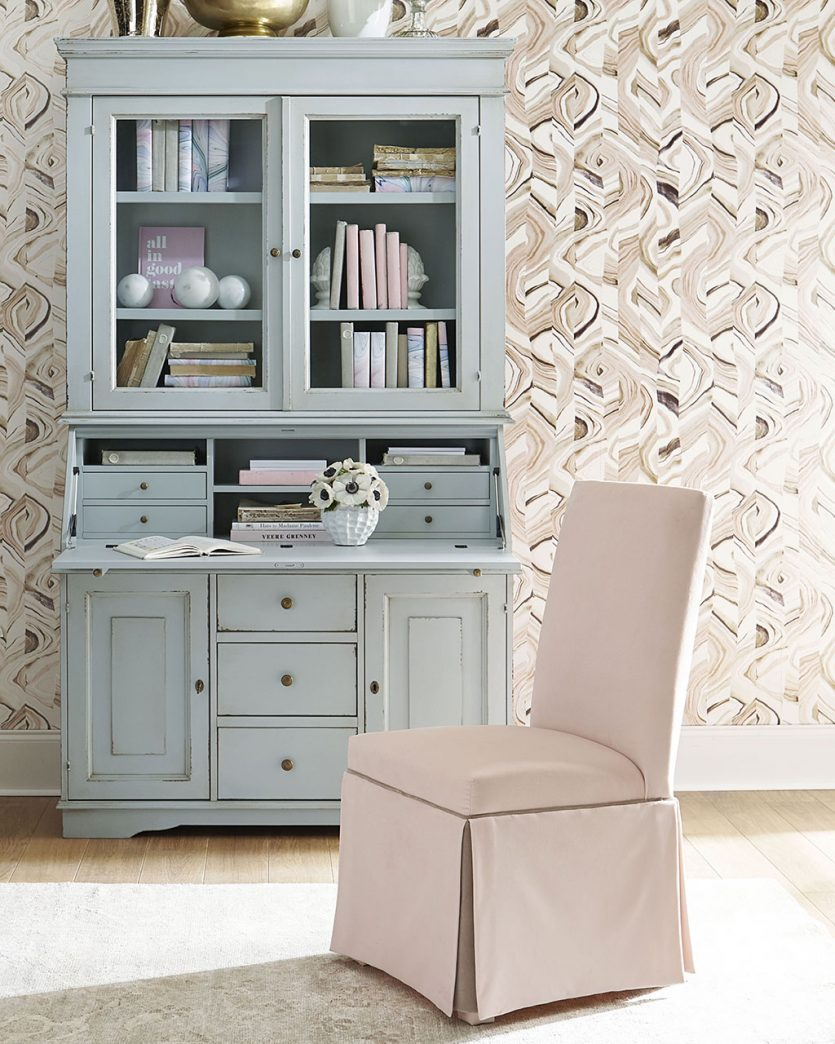 Secretary in an entryway with fold down work surface