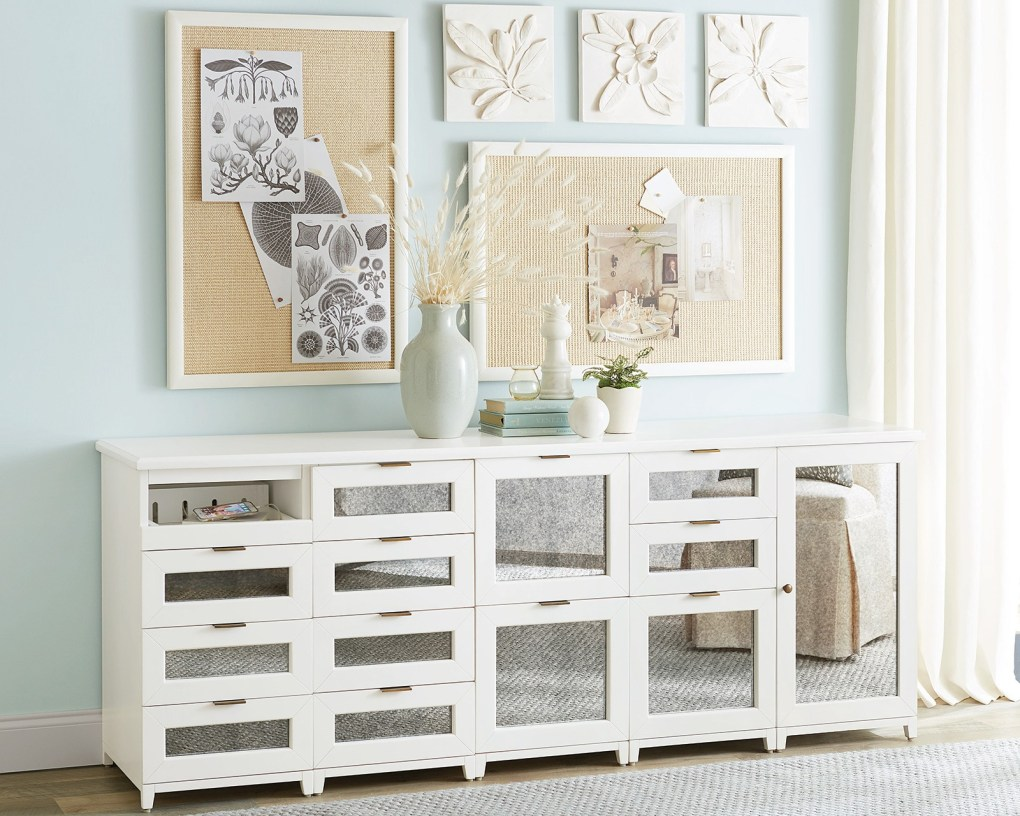 Long low credenze with mirror panels from Ballard Designs Hutton Collection