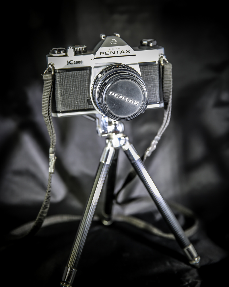 """And here she is... My """"new"""" Pentax set up on the little tripod that came with my bag of treasures!"""