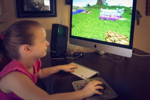 Even Morgan joins in for some Minecraft fun. However, she likes creative mode because she can choose pretty colors!!