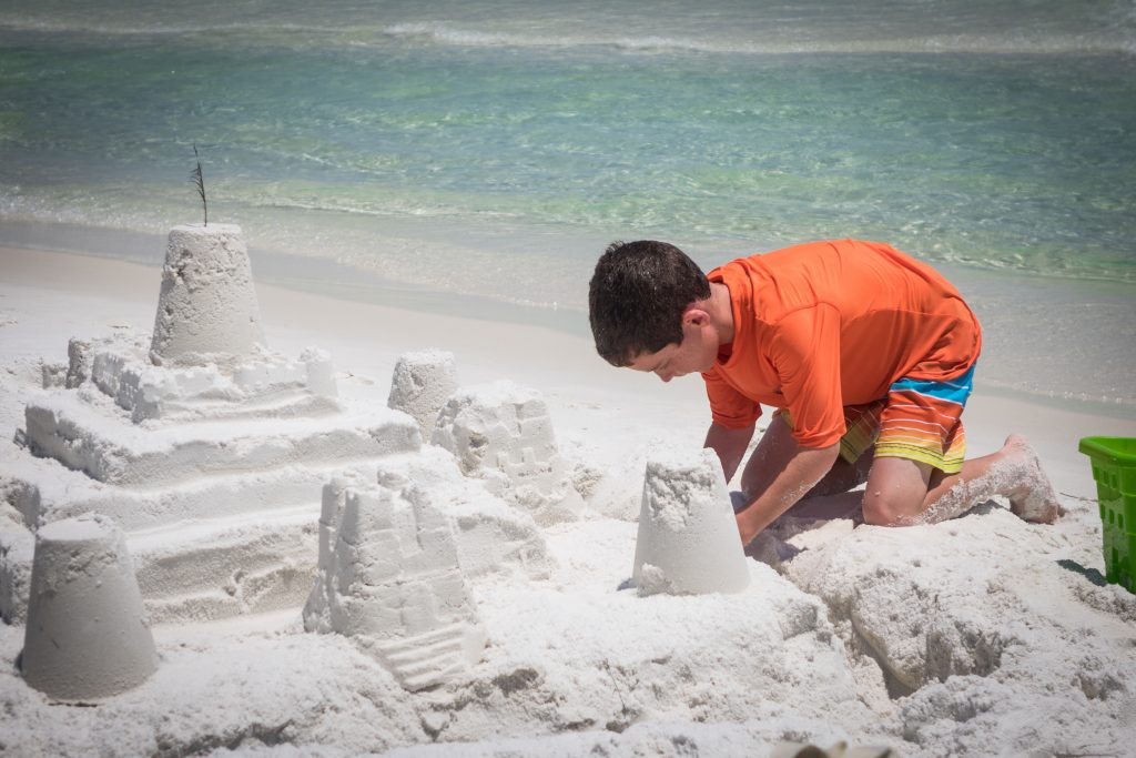 Here's Zach helping out - I think he worked on the castle for about 10 minutes this year. And it's usually his idea to build one in the first place!