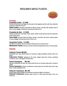 Menu Fusion Restaurant Bar Ballena Tales Magazine