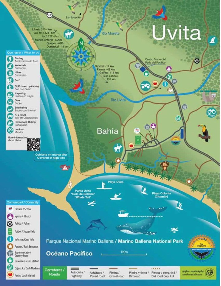 Uvita Map Tourism, Tourist destiny, business directory