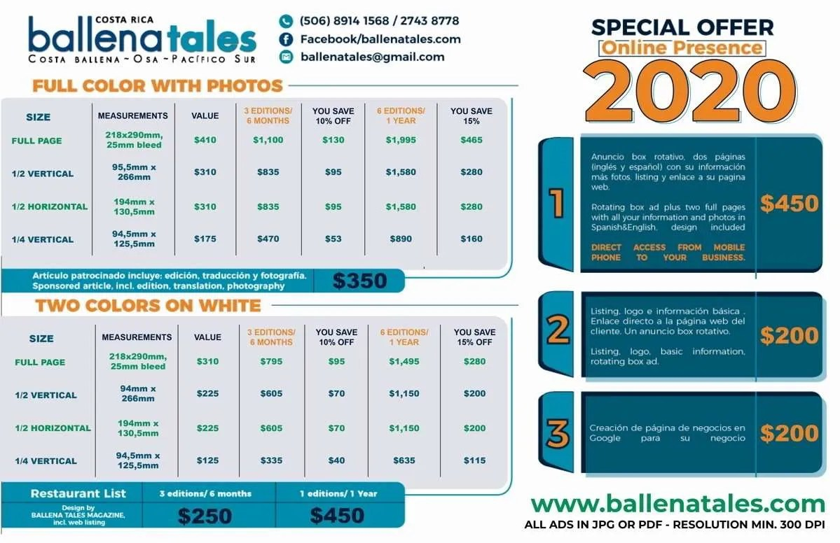 Advertise with us - Ballena Tales Price list 2020