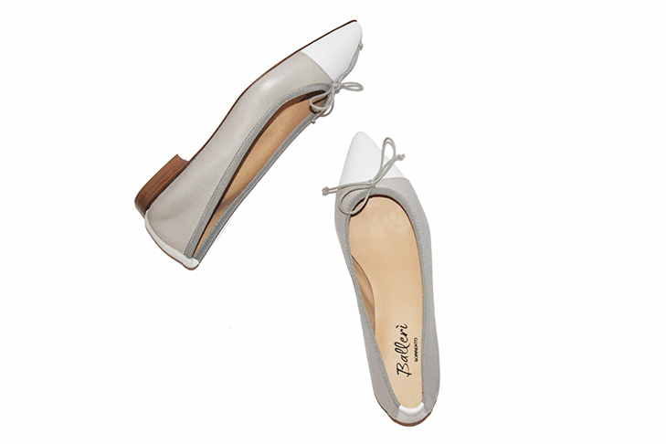 Grey and White two-tone Leather Sofia Ballerina - 3