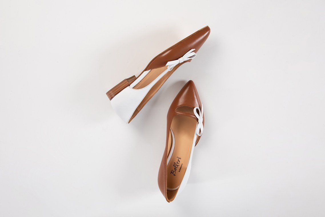 Tan/White Leather Aida Pointed Ballerina - Details