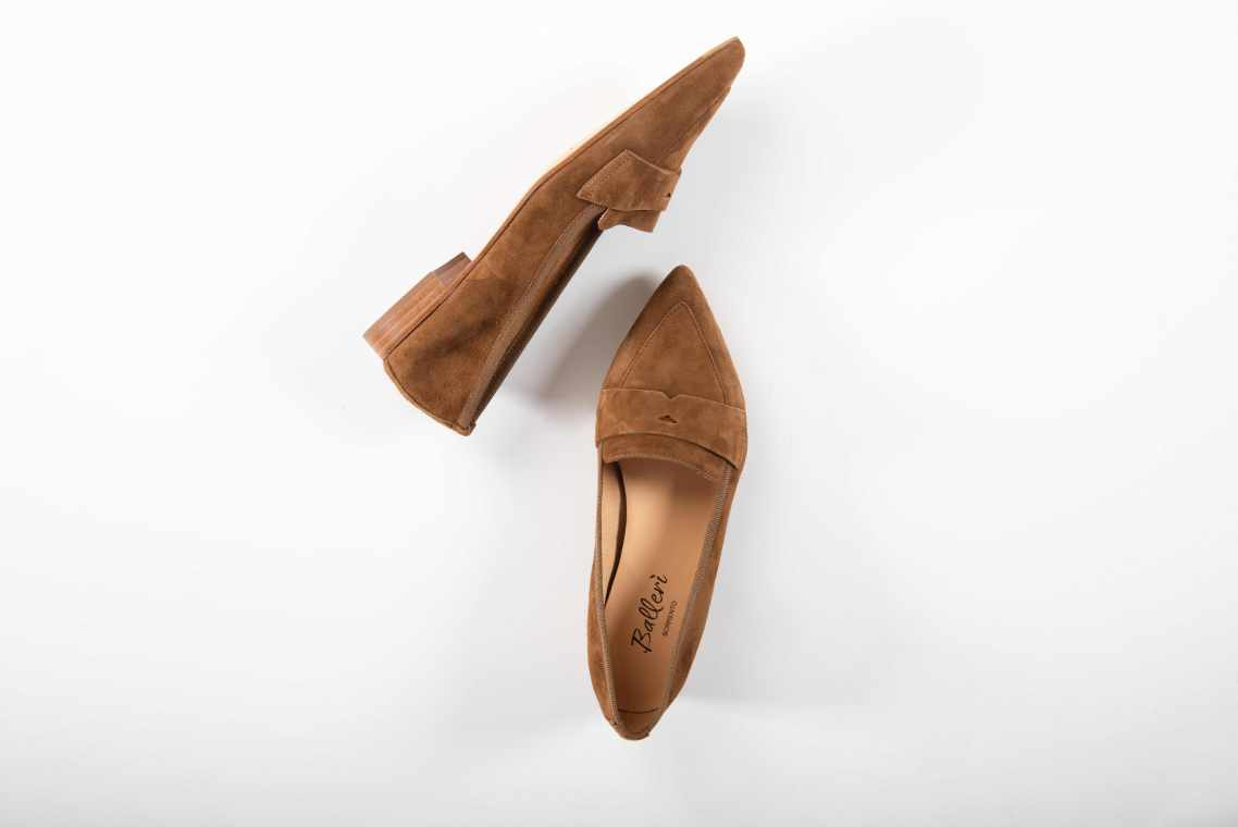 Tan Suede Nico Pointed Loafer - Details