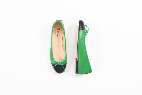 Ballerina a punta tonda Elsa Pelle Verde/Nero - 3