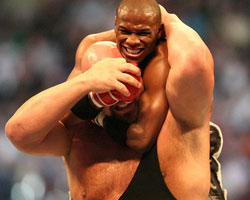 Floyd Mayweather Jr. choking the Big Show during Sunday's (March 30) Wrestlemania
