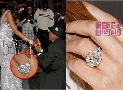 Ring given to Selita Ebanks (left), and ring Mariah Carey's been wearing (right) -- Photo: PerezHilton.com