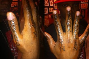 Papoose hand tattoos of 5 boroughs of NY
