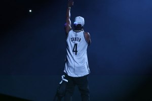Jay-Z rocking his 'Carter' Brooklyn Nets jersey at Barclays Center opening