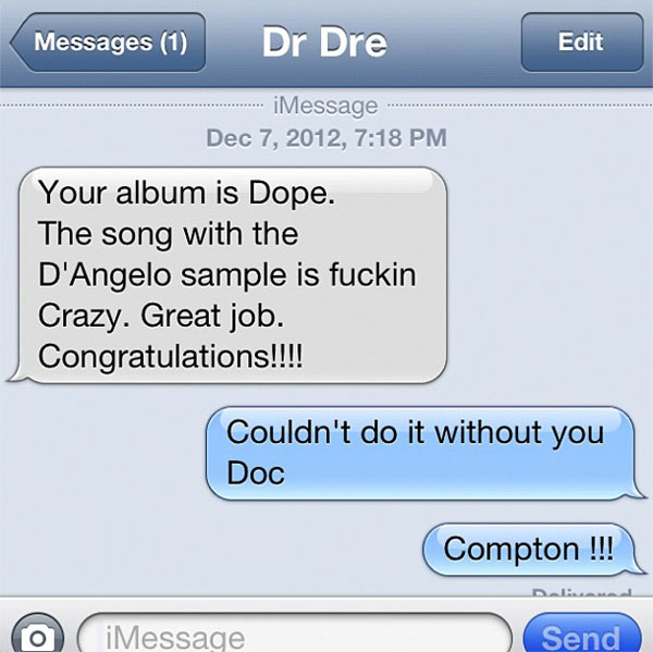 Dr. Dre co-signs Game's JESUS PIECE album via text.