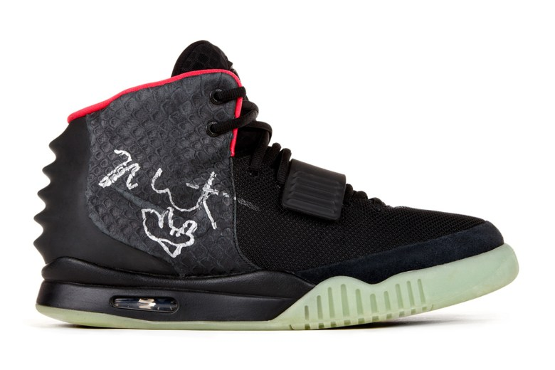 a signed, sample pair of Kanye West's Air Yeezy 2's for Re/Create New York