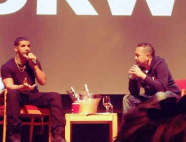 Drake and Elliott Wilson at NYU for CRWN series.
