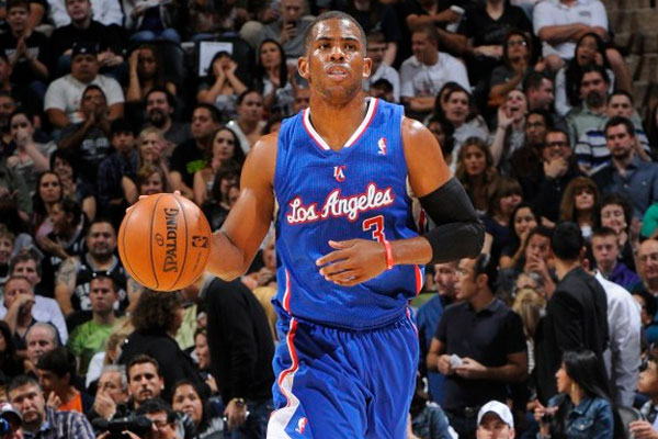Chris Paul in blue Clippers uniform