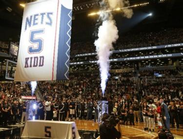 Jason Kidd's #5 jersey retired at Barclays Center.