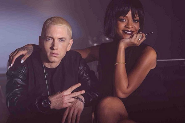 Eminem and Rihanna on set of 'The Monster' video