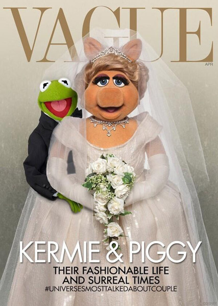 Muppets spoof Kanye and Kim's Vogue cover.