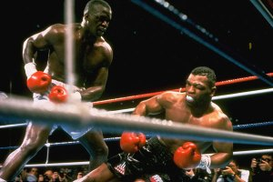 Buster Douglas knocks out Mike Tyson in 1990.
