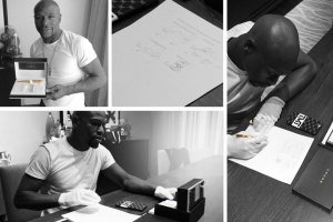 Floyd Mayweather signing Pacquiao contract with a Cross Pen