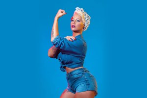 Amber Rose as Rosie the Riveter.