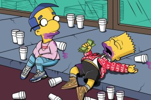 Simpsons Characters Draped In Supreme & BAPE