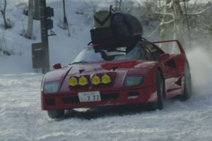 Red Bull Drifts Ferrari F40 Through the Snow