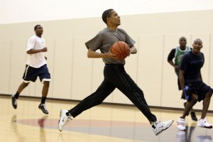 Obama playing basketball