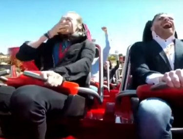 Guy Gets Nailed By Pigeon On Roller Coaster