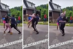 Big Chick Tosses Two Girls Around Like Rag Dolls