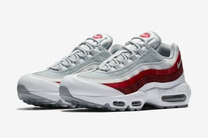 Nike Air Max 95 White Wolf Grey Team Red