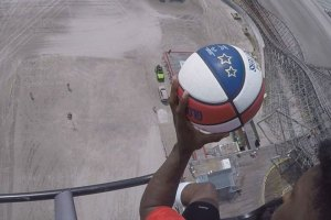 Harlem Globetrotter Shot from Helicopter